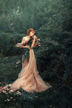 Fantasy art editorial photography female full body haute couture luxury high fashion portrait ginger red head woman in pink dress with a bouquet of roses in a green bustling baroque garden, pastel color photo, picture by Nastas'ya Parshina - Ideas Para Photoshoot, Fairy Photoshoot, Art Photography, Fashion Photography, Ethereal Photography, Photography Flowers, Fairy Tale Photography, Dark Fantasy Photography, Artistic Portrait Photography