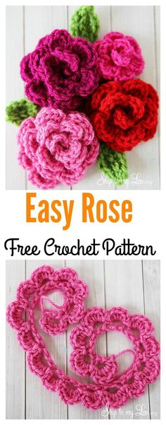 Crochet Diy Crochet Easy Rose Free Pattern - Flower crafting is always popular, and roses are among the best of the choices. Today we are featuring Valentine's Day Crochet Flowers Free Patterns. Free Crochet Rose Pattern, Beau Crochet, Crochet Puff Flower, Crochet Diy, Crochet Motifs, Crochet Crafts, Yarn Crafts, Free Pattern, Crochet Roses