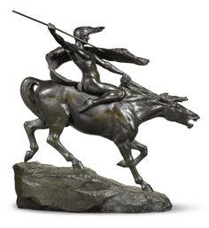 STEPHAN ABEL SINDING  NORWEGIAN  1846-1922  WALKÜRE (BRUNHILDA ON HORSEBACK)