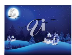 Royalty Free Clipart Image of Houses on a Winter Night