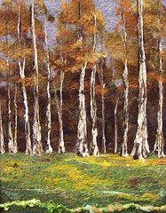 felted birch trees (deebs fiber arts) Fleece Crafts, Felt Crafts, Wet Felting, Needle Felting, Felt Tree, Felt Pictures, Wool Art, Thread Painting, Fabric Art