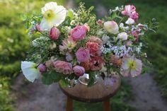 This weeks bouquet includes: Icelandic poppies, rose foliage, hesperis, ranunculus, wild rose buds, allium 'Cowanii', privet foliage, sweet ...