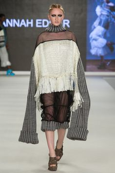 Outfit 1 - woven cling film, knit and tulle