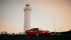 Sunset at the Kiama Lighthouse with the Ferrari 488 GTB and Lamborghini Huracán LP 610-4