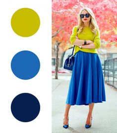 12 Fail-Proof Color Combos To Try For Winter - Kleider Fall Fashion Colors, Colour Combinations Fashion, Color Combinations For Clothes, Color Combos, Autumn Fashion, Winter Skirt, Winter Dresses, Blue Skirt Outfits, Navy Skirt