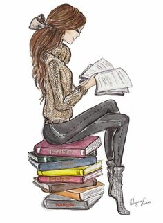 *✿**✿**✿**✿*✿** illustration of woman reading Girl Reading Book, Reading Art, Woman Reading, Book Drawing, Drawing Girls, Drawing People, Literature Books, Stack Of Books, Book Nerd