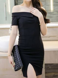 85f079f5457f Fork Off Collar Skinny Slim Dresses_Strapless&Tube Dress_DRESSES_Wholesale  clothing, Wholesale Clothes Online From China Buy Office