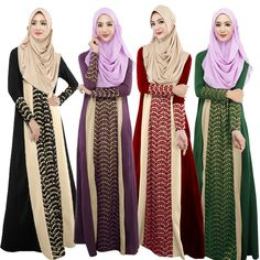 2015 Muslim abaya fashion contract color chiffon dress turkish women clothes dubai kaftan islamic clothing for women WL3472 #Islamic clothing Long Sleeve Maxi, Maxi Dress With Sleeves, Abaya Fashion, Muslim Fashion, Modest Fashion, Eastern Dresses, Muslim Dress, Hijab Dress, Muslim Hijab