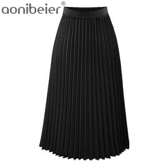 Cheap elastic skirt, Buy Quality fashion skirt directly from China skirt fashion Suppliers: Aonibeier Fashion Women's High Waist Pleated Solid Color Length Elastic Skirt Promotions Lady Black Pink Party Casual Skirts Black Midi Skirt, Pleated Midi Skirt, High Waisted Skirt, Midi Skirts, Cosplay Kawaii, Long Chiffon Skirt, Lady, Casual Skirts, Colorful Fashion