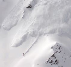 skier's view from inside an avalanche