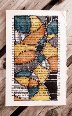 Doodle art, art on book pages, altered books pages, altered boo Altered Book Art, Altered Books Pages, Book Page Art, Art Journal Pages, Art Journals, Art Journal Inspiration, Journal Ideas, Book Crafts, Art Plastique