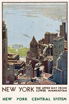 Vintage New York Manhattan USA 1920s Travel Posters Prints