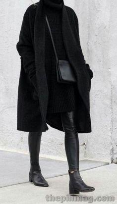 All Black Outfits For Women, Black And White Outfit, Clothes For Women, Black Boots, Black Coat Outfit, Dress Black, Black And Black, All Black Clothing, All Black Outfit For Party
