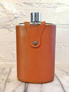 Vintage Leather Flask  Pocket Flask by VintageMomentsShop on Etsy, $28.00