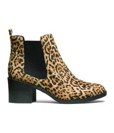 Lined ankle boots in leopard print imitation suede with elastic panels at sides and rubber soles. | H&M Shoes