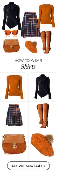 """""""Plaid skirt"""" by b-nieves on Polyvore featuring GUESS, rag & bone, Chloé, Sakkas and The Row"""