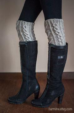 Hand Knit Leg Warmers Cable Knit Legwarmer Fashion Trend Winter Fashion Grey Legwarmers for Stocking Stuffers on Etsy, $45.00
