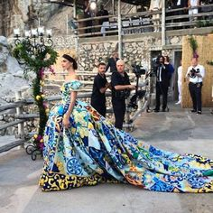 Royal queen ball-gown in regal motif tiles collage print at Dolce and Gabbana Alta Moda Fall Winter 2014 #Couture #creative #design