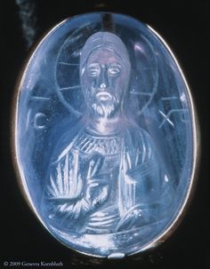 Sapphire cameo of Christ. Byzantine, twelfth century, Constantinople? Details below document the varying height of relief and its effect on light transmission, the straight cuts of a flat engraving wheel, and the facial features and gesture of blessing. Washington, D.C., Dumbarton Oaks Byzantine Collection.