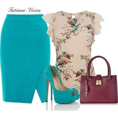 Teal Pencil Skirt with a Front Split, Paired With A Beige Floral Blouse....