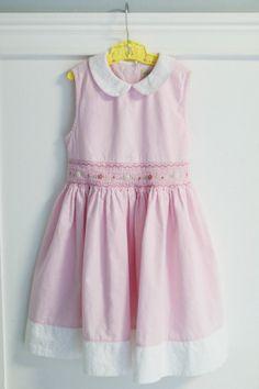 https://www.etsy.com/shop/petitpoesy Classic Pink Smocked Little Girl's Dress, Peter Pan Collar, Size 6