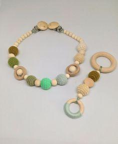 Pram Toys – Crochet Stroller/baby teether 2in1 – a unique product by RasvyteEco on DaWanda