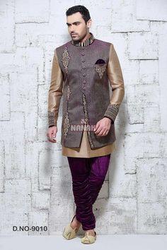 Kleidung & Accessoires Cream Kurta Sherwani With Full Frontal Embroidery Size 44 Phantasie Farben