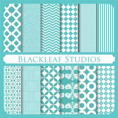 Tiffany Blue Patterned Digital Scrapbooking Papers k's room