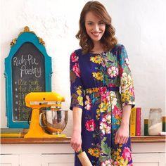 Joules Leila Size 6 Floral Navy Blue Dress