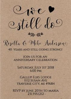We Still Do Anniversary Invitations #anniversary #invitations #westilldo