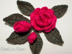Free Crochet Patterns for Felted Roses and Leaves...these are great for embellishments!