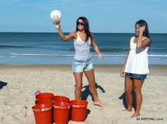 beach beer pong...saw people doing this in VA one year....LOVED IT