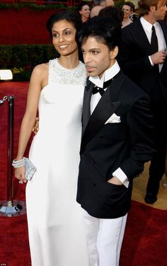 2005: Looking more conservative than usual, but still doing great things with plain black and white, Prince is seen here arriving at the Academy Awards with his former wife, Manuela Testolini