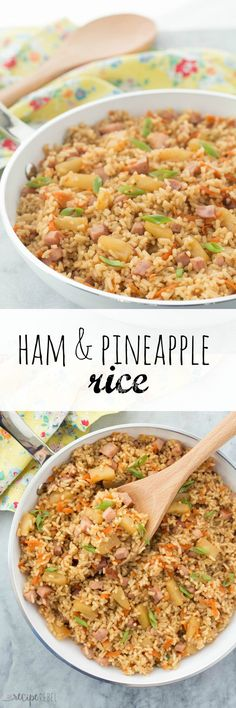 This 20 Minute Ham and Pineapple Rice is a fun and easy one pot meal for busy weeknights! Perfect for those Hawaiian lovers :) It's also great for pairing with Easter ham!