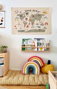 Boy And Girl Shared Bedroom, Little Girl Rooms, Kids Bedroom, Map Nursery, Nursery Room, Boy Room, Kids World Map, World Map Wall Art, Hanging Canvas