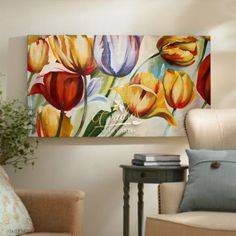 Flores Tulipanes Colores - Cuadros Decorativos Al Óleo