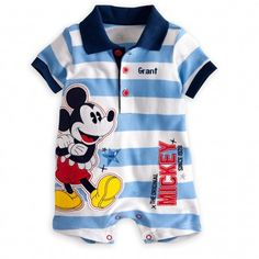 Your littlest Mouseketeer will stand out at roll call wearing Mickey's personalizable romper.