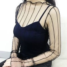 8a5ecdc577fb3 Fab stripy mesh top in black. It is one size