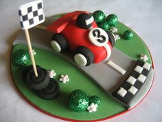The Racing Car Birthday Cake Car Cake Toppers, Fondant Toppers, Fondant Cakes, Cupcake Cakes, Racing Cake, Race Car Cakes, Renn Kuchen, Ferrari Cake, Vintage Car Party