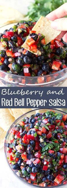 Blueberry Bell Pepper Salsa - - Fresh summer blueberries are paired with sweet red bell pepper in this gourmet salsa recipe. Blueberry and Red Bell Pepper Salsa is a winner! Summer Snacks, Summer Recipes, New Recipes, Cooking Recipes, Favorite Recipes, Unique Recipes, Healthy Summer, Cooking Bacon, Jelly Recipes