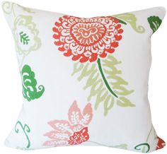 Thibaut Orange Pink Floral Decorative Pillow Cover - Throw Pillow - Accent Pillow - Toss Pillow - Both Sides - 20x20 -playroom