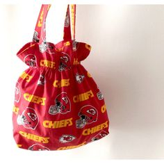 Kansas City Chiefs, Kansas City Fabric, KC Tote Bag, Red Tote, Chiefs... ($16) ❤ liked on Polyvore featuring bags, handbags, tote bags, totes, red purse, tote purses, hand bags, man tote bag and red handbags