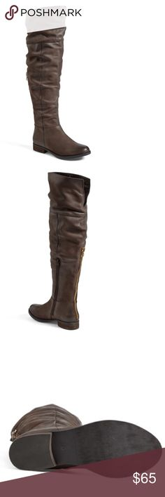 """Steve Madden 'Heisnbrg' Leather Over the Knee Boot True to size. Fitted shaft - check your measurements to ensure a good fit. Weathered leather gives a cool, worn-in look to an over-the-knee boot punctuated with a decorative goldtone zipper in back and set on a low stacked heel. Push them down for a touch more slouch. The upper panel is split in back, adding a bit of ease to the fit. 1"""" heel (size 6). 20 3/4"""" boot shaft; 15"""" calf circumference. Side zip closure; non-functional back zip…"""