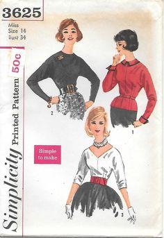 Simplicity 3625 - 1960s Kimono Sleeve Blouse UNCUT Sewing Pattern V Neck Back Zipper Bust 34