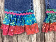 UPCYCLED RUFFLE JEAN size 5T by TheSimpleCottageMN on Etsy