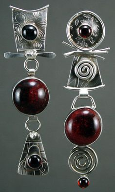 Mismatched Long Dangle Earrings, Deep Red with garnets in Patterned and Textured Sterling Silver