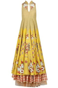 Yellow floral embroidered anarkali with peach skirt available only at Pernia's Pop-Up Shop.