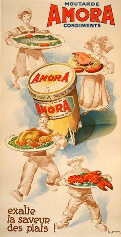 AMORA - MOUTARDE CONDIMENTS   by   DUPIN, a vintage original poster from 1935! This is an advertisement for ways to use Amora brand mustard!