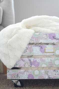 Simple Wooden Crate Embellished With Decorative Paper