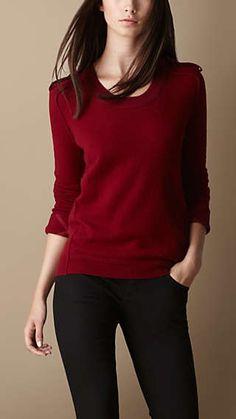 Epaulette Detail Cashmere Sweater